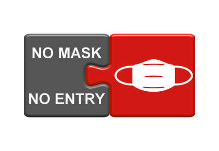 Gray and red Puzzle Buttons showing No Mask No Entry - 3D Illustration 版權商用圖片
