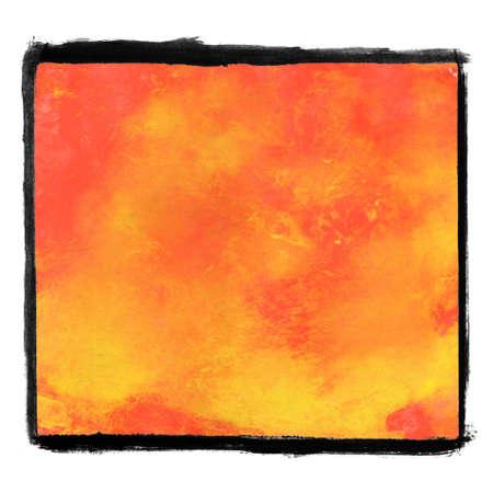 Red orange paintbruish texture with black frame