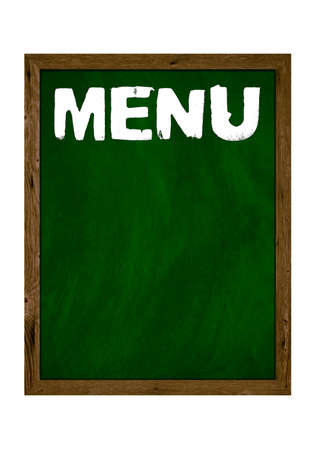 Green wooden board with copy space showing Menu with chalk letters 免版税图像