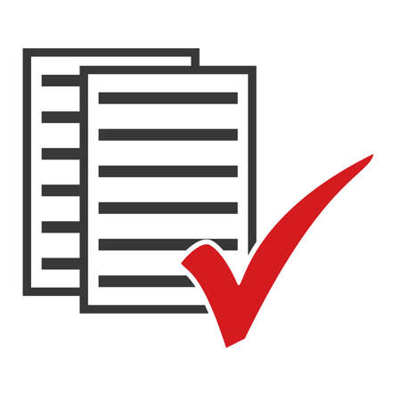 Icon showing papers with red tick symbol