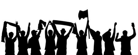 Black Silhouette of cheering soccer, football, sport or music fans