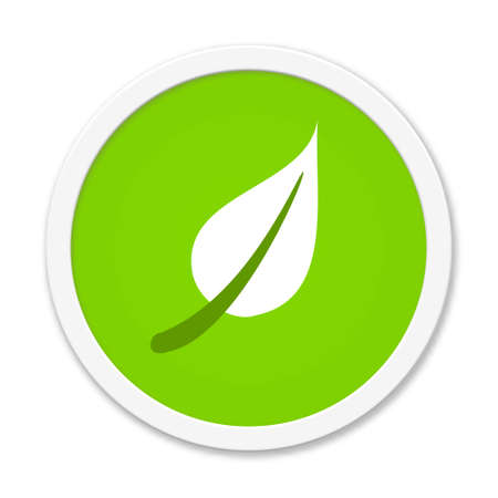 Green round button with leaf icon