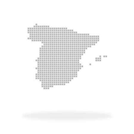 Country Spain - Silhouette contour icon made of gray dots with shadow