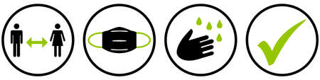 Black and green icons in circles - Covid-19 protection: Social Distancing, Face Mask, Hygiene, Check Standard-Bild