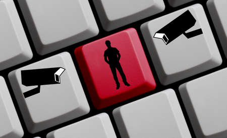 Person on computer keyboard with two cameras - Online Surveilance