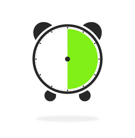 Alarm clock or stopwatch icon green and black showing 30 seconds, 30 minutes or 6 hours