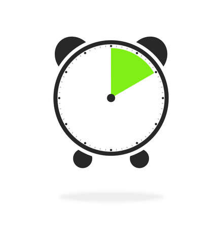 Alarm clock or stopwatch icon green and black showing 10 seconds, 10 minutes or 2 hours Stock Photo