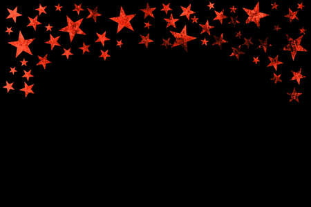 Christmas Card template: Red grunge stars frame on black background with copy space