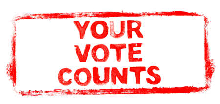 Your vote counts Banner: Red rubber stamp frame with stencil text Banque d'images