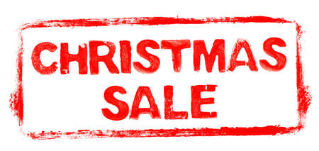 Christmas Sale Banner: Red rubber stamp frame with stencil text Reklamní fotografie
