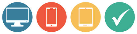 4 colorful buttons showing devices: PC monitor, smartphone and tablet