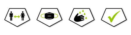 Coronavirus Banner black and green - Three Icons showing Coronavirus Protection: Distance, Mask, Hygiene Reklamní fotografie
