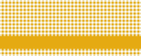 Tablecloth banner checkered orge and white with stripe for text Foto de archivo