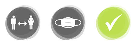 Gray green banner buttons: Social Distancing, Face Mask and Tick