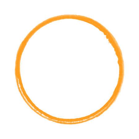 Orange paintbrush circle made with paintbrush