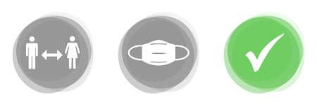 Coronavirus Banner gray green - Social Distancing, Face Mask and Check Mark