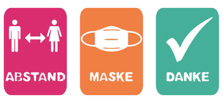 Coronavirus Banner with 3 signs pink, orange and green: Social distancing, Face Mask and Check Mark in german language Standard-Bild