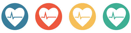 4 colorful buttons blue, red, orange and green showing: Cardiology, Heart or Medical Check