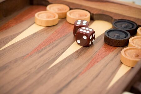 backgammon with dices and chips