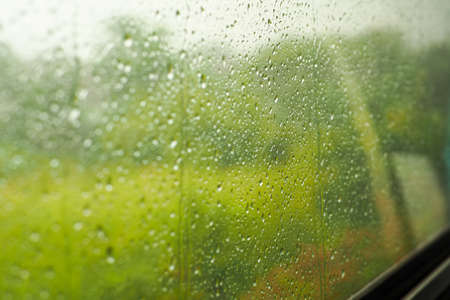 Rain on the train window