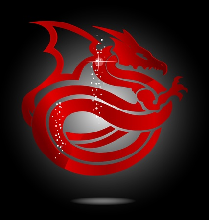 magic and glass red asia dragon sign Ilustração