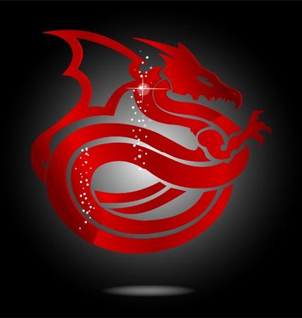 magisch en glas rood Azië draakteken Stock Illustratie