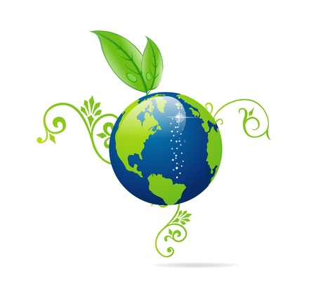 blauwe en groene eco aarde teken geïsoleerd Stock Illustratie