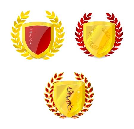 glossy gold classic emblem set isolated Stock Photo - 9730552