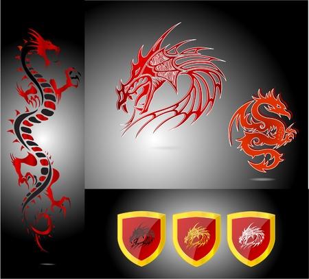dragons set isolated photo
