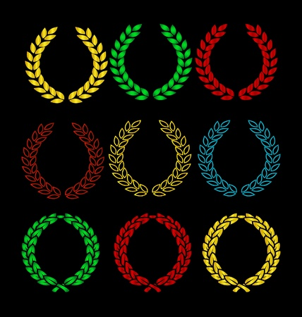 gold and colored wreath sign set isolated Stock Vector - 9720993