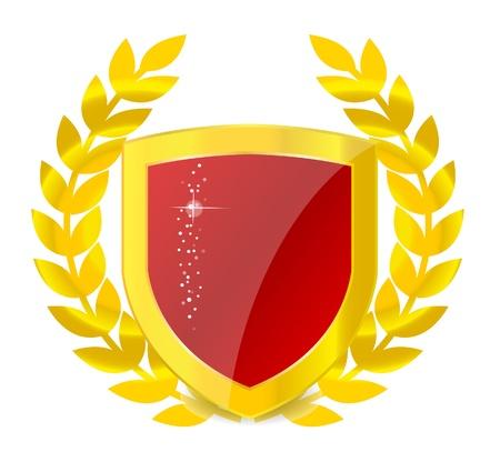 Gold emblem of colorful shield photo