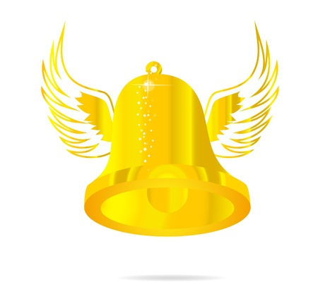 happy bell sign gold color on the white Vector