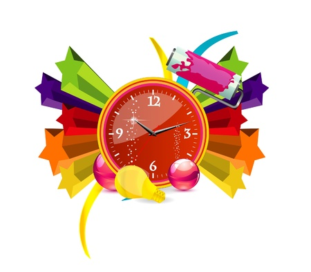 red finance clock sign on the colored stars Vector
