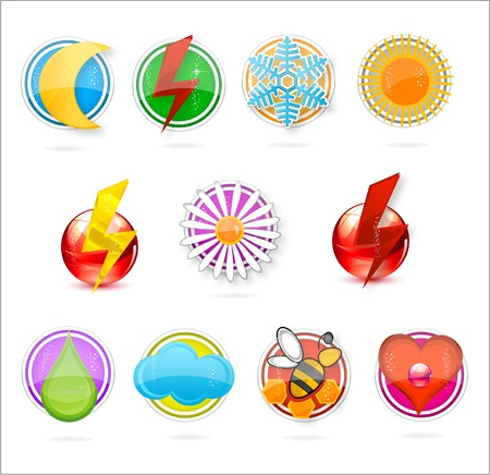 colored symbols set on the white Stock Vector - 9865438