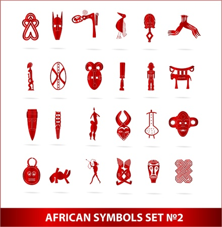 god african symbols set vector red color