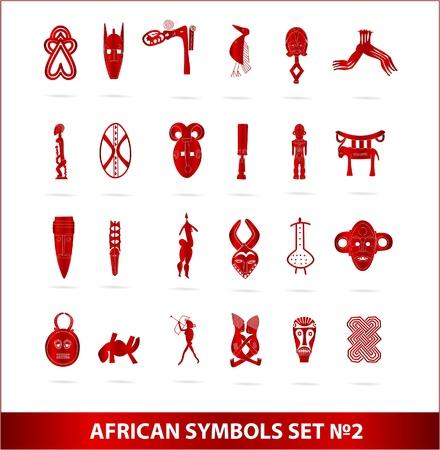 god-Afrikaanse symbolen ingesteld vector rode kleur Stockfoto
