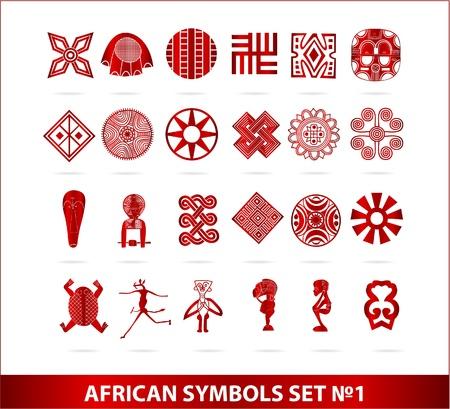 african woman face: Simboli africane impostare il colore rosso isolato