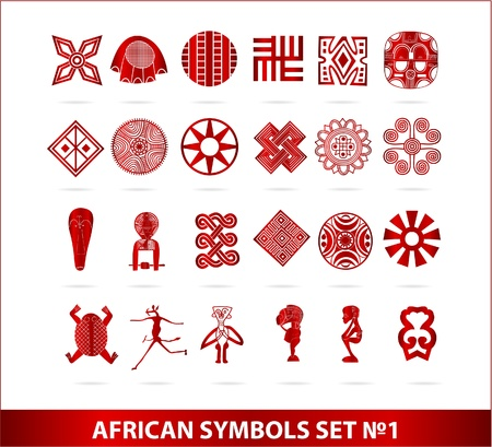 African symbols set red color isolated