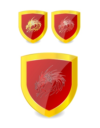 dragons set on the emblem gold and red color Stock Vector - 9865466