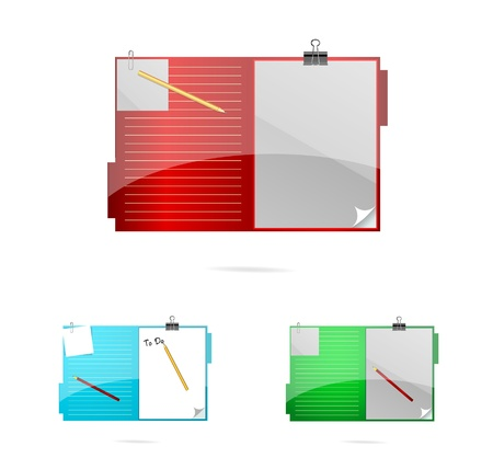 gekleurde en glas office mappen instellen Stock Illustratie