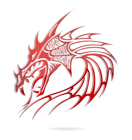 dragon year: asia dragon and flames sign red color Stock Photo