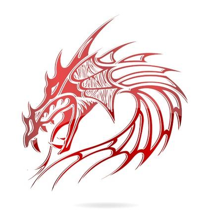 dragon rouge: flammes et dragon Asie signent une couleur rouge