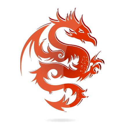 tatouage dragon: couleur de dragon rouge Asie isol� de verre. Illustration