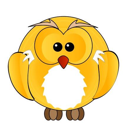 abstract owl bird sign yellow color Vector