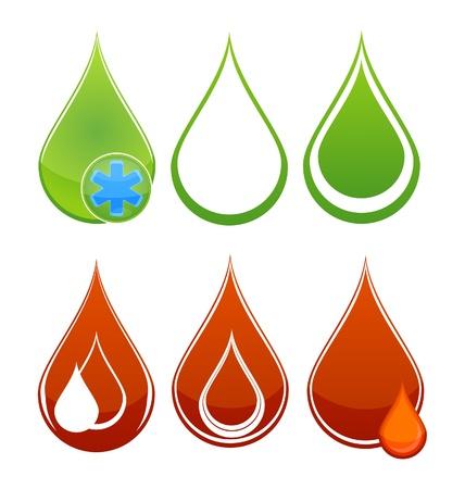 reflejo en el agua: Medic gotas de sangre de conjunto