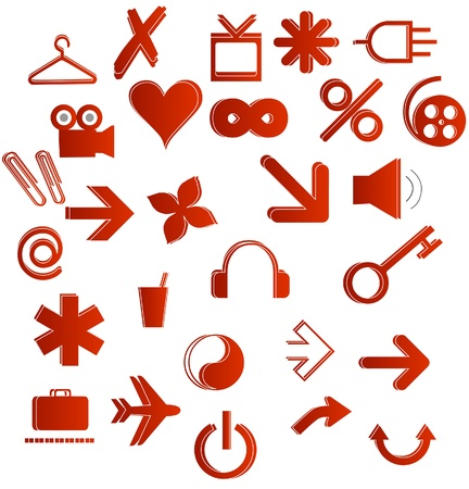 office and web symbols set red color isolated Illustration