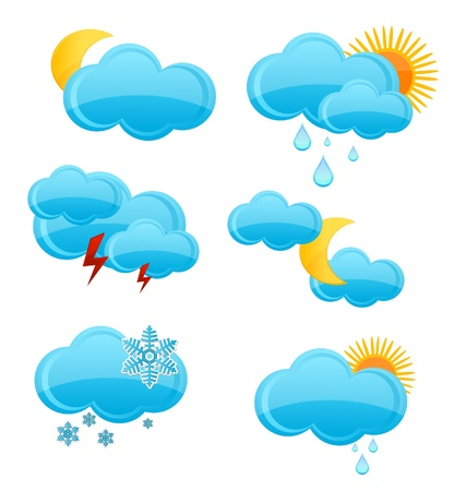 web and glass weather symbols set isolated