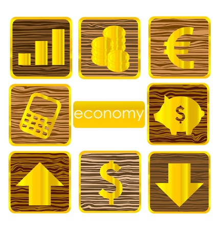 gold finance symbols set isolated on the white Illustration