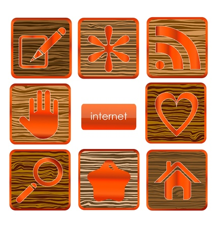 web wood sign set isolated Vector