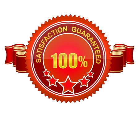 red symbol label satisfaction guarantee isolated Vector